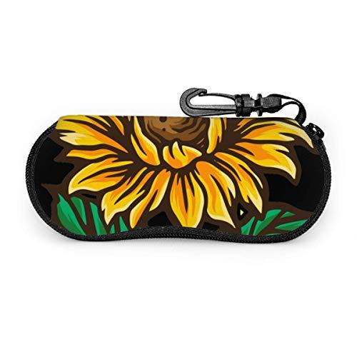 OKIJH Estuche portátil para gafas, caja de almacenamiento, estuche para gafas, bolsa de cosméticos Cartoon Sunflowers Pattern Portable Eyeglass Case Abrasion Resistant Glasses Protective Case Soft Sun