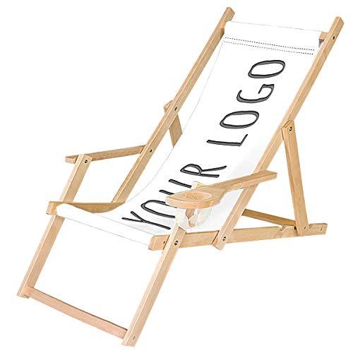 Ferocity Holz-Liegestuhl Klappbar Klappliegestuhl mit Armlehne und Getränkehalter Strandstuhl Motiv Bedrucken Weiß Dein Logo/Text [119]