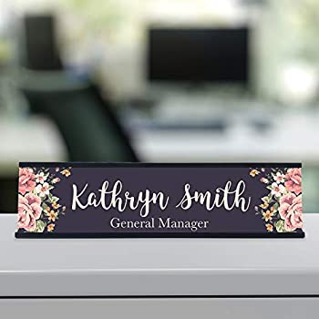 Personalized Custom Desk Name Plate Floral Pretty Roses 15 Font Styles Aluminum 2 x 8