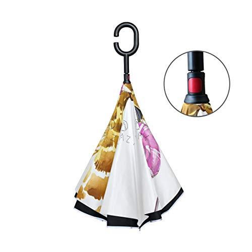 Paraguas al Aire Libre a Prueba de Viento de la Vida Silvestre con manija en Forma de C Jirafa Animal de Dibujos Animados Lollipop Patio Paraguas para el Coche Reversa Paraguas