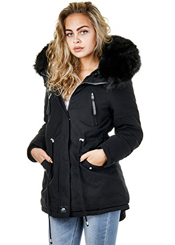 Sixth June Damen Parka Winter Jacke XXL Fell Kapuze Gefüttert Schwarz Weiß W2609, Größe:M, Farbe:Schwarz/Schwarz