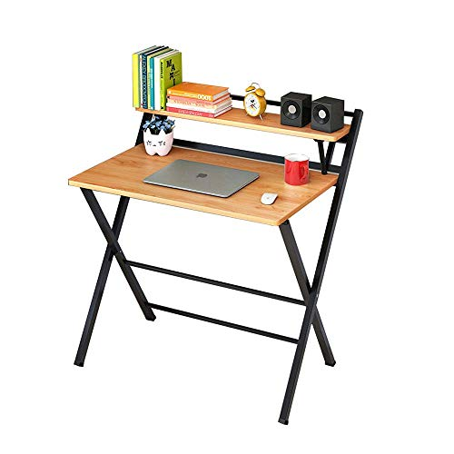 ZXL Folding Table Computer Desk Study Desk Simple Home Office Multi-Function Small Table with Storage Shelf (Color : C)