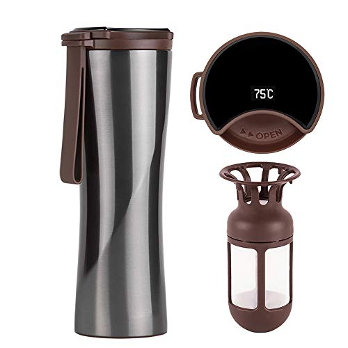 KISS KISS FISH Travel Mug, Vacuum Flask, Smart Coffee Tumbler, 430ml Touch Interactive Stainless Steel Water Bottle with OLED Temperature Display Including Coffee Brewer (Grey)