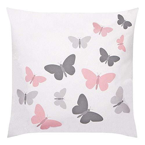 Delindo Lifestyle® Kissenbezug Schmetterlinge 2-TLG, weiß beige, Moderne Kissenhülle für das ganze Jahr, für Kissen in 40x40 cm