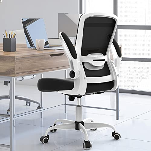 Ergonomic Desk Chair Office Chair Mesh Computer Chair Flip Up Arms Modern Executive Chair with Lumbar Support Adjustable Height Task Chair(White)