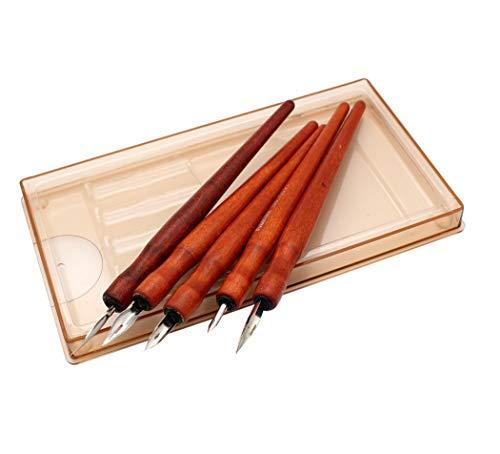 Hillento Comic Dip Pen Set, 5 Wooden Pen Handler Artist Cartoon Pen Set Calligraphy Dip Pens with 5 Nibs - Great for Manga/Comic/Calligraphy/Word Art/Pen-and-Ink Drawing