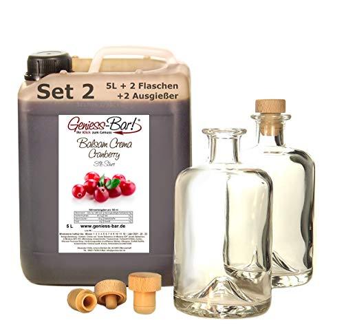 Balsamico Creme Cranberry 5L + 2 Flaschen & Ausgießer Mit original Crema di Aceto Balsamico di Modena IGP Set 2