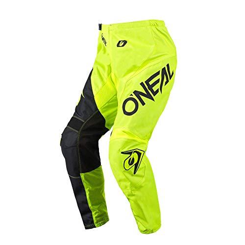 O'NEAL | Pantalones de Motocicleta | Enduro Motocross | máxima Libertad de Movimiento, Transpirable y Duradero | Pantalones Elemento Racewear | Adultos | Amarillo Neón Negro | Talla 30/46