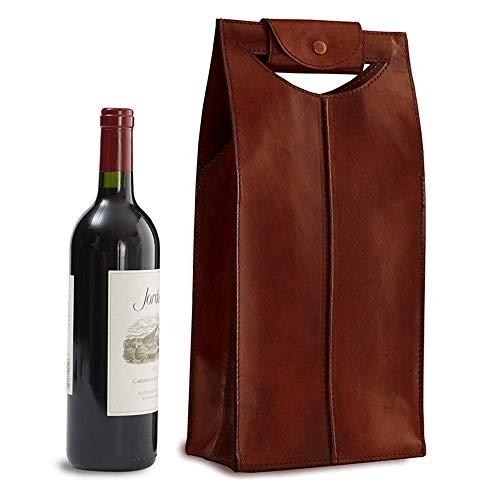 IWA Leather Wine Bag Brown 2 Bottle New #25682