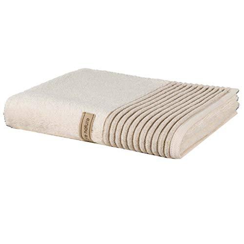 möve Wellness Handtuch Uni mit Chenillebiesen 50 x 100 cm aus 100 % Baumwolle (Spinair), nature