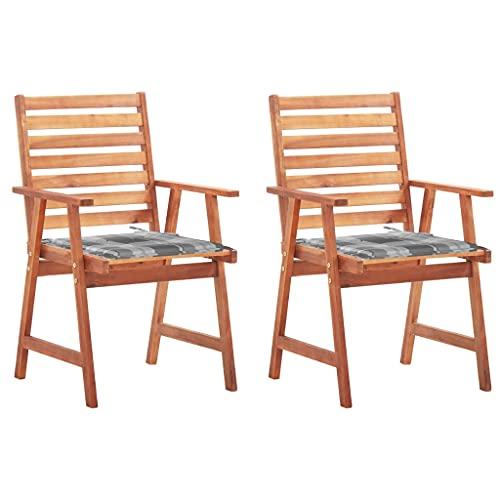 vidaXL 2X Madera Maciza Acacia Sillas Comedor de Jardín y Cojines Plegables Terraza Exterior Balcón Patio Sillón Asiento Butaca Muebles Mobiliario