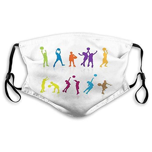 TABUE Gesichtsschutz Mundschutz Jugend, Bunte Silhouetten von Kindern springen und Basketball mit Reflexionen Spielen