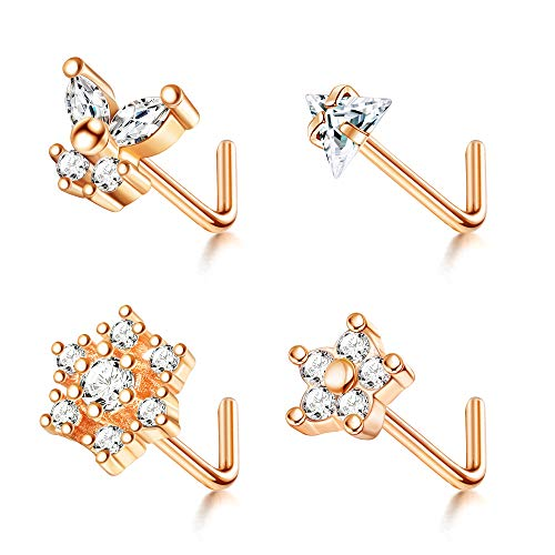 Udalyn 4 Pcs 20G Nose Rings Studs Surgical Steel CZ Butterfly Nose Piercing Triangle Nose l Shape Studs for Women Men Sliver Gold Rose Gold