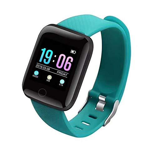 XXY Pulsera De Reloj Inteligente Pulsera Rastro del Corazón Pedómetros Presión Arterial A Prueba De Agua 116 Plus Wirstbanda para iOS ANDROD (Color : Green)