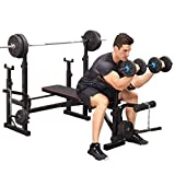 Weight bench with Squat Stand Rack Multifunctional Weightlifting Bench Press Bench Barbell Bed Bench Chest Push Olympic Bench for Upper Body Exercises