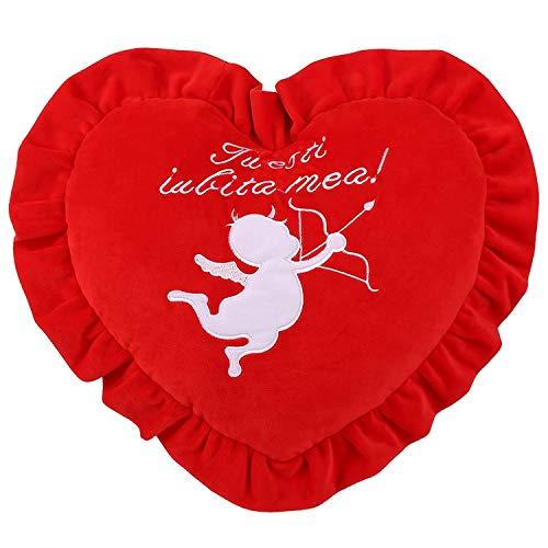 cojin de Peluche de Corazon Rojo 40cm .Regalos de San Valentín Relleno, Suave Forma de corazón cojín Texto Personalizado Lindo Cuello Almohada Asiento de Coche cojín para decoración del hogar