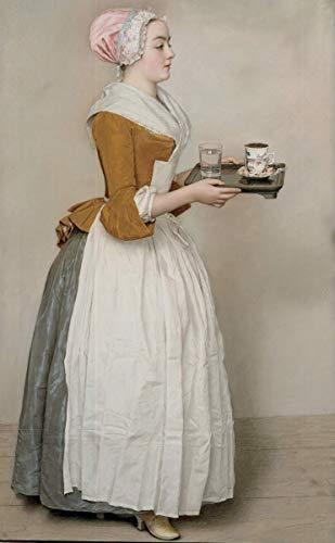 Berkin Arts Jean Etienne Liotard Giclée Leinwand Prints Gemälde Poster Reproduktion(Das Schokoladenmädchen)