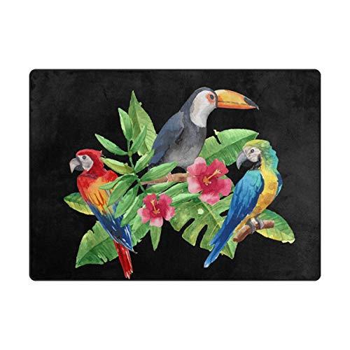 MALPLENA Toucan et Les perroquets Zone Tapis antidérapant Pad Moyen d'entrée Paillasson Tapis de Sol Chaussures Grattoir, Polyester, 1, 63 x 48 inch