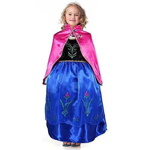 Bascolor Disfraz Anna Frozen Niñas con Capa Princesa Ana Vestido Traje Princesa Anna para Halloween Cosplay Fiesta (7-8 años)