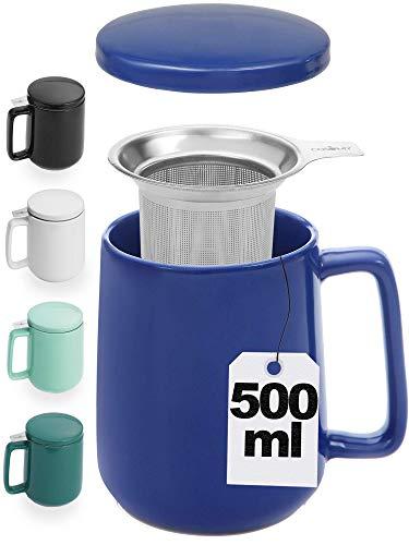 Taza con Filtro para Infusiones y Te - Azul Oscuro - XXL 500ml Grande - Ceramica - Con Tapa y Asa