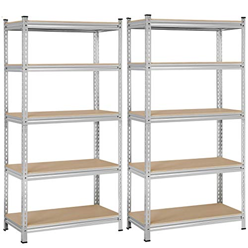 Yaheetech Black 5-Shelf Steel Shelving Unit Storage Rack Adjustable Garage Shelves Utility Rack Display for Home Office Garage 71in Height, 2 Packs