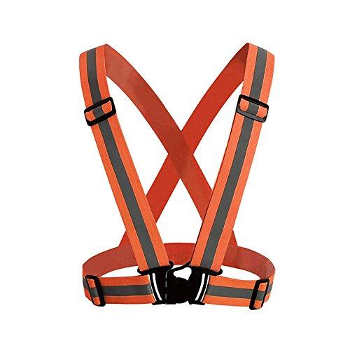 MEOKEY Hohe Sichtbarkeit Reflektierend Verstellbar Sicherheit Weste Gürtel zum Laufen, Wandern, Radfahren, Reiten, Motorrad - Orange