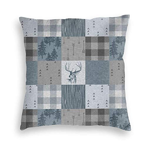 Soft Pillow Case Forest Deer Patchwork Old Vintage Look Decorative Square Pillow Case Sofa Bedroom Car Cushion Cover 18x18inches 45x45cm