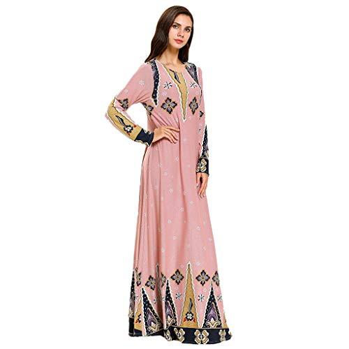 Lazzboy Muslimische Perlen Kaftan Abaya Dubai Frauen Robe Islamic Dress Denim Langes Kleid Stickerei Quaste Kordelzug Spitze Hohe Lose Muslim Arabische Islamische Kleidung(Mehrfarbig,2XL)