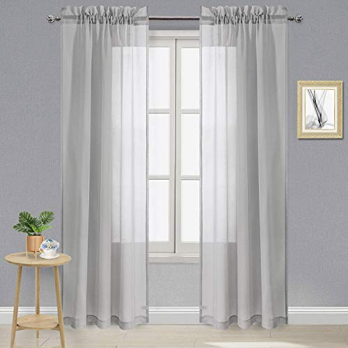 DWCN Grey Sheer Curtains Semi Transparent Voile Rod Pocket Curtains for Bedroom and Living Room, 42 x 84 inches Long, Set of 2 Panels