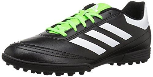 adidas  Men's Goletto VI TF Soccer Shoe, Black/White/Solar Green, 11 M US