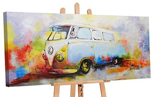 YS-Art Cuadro Acrílico Nostalgia| Pintado a Mano | 115x50 cm | Arte Moderno | Lienzo de Pared | único | Multicolor