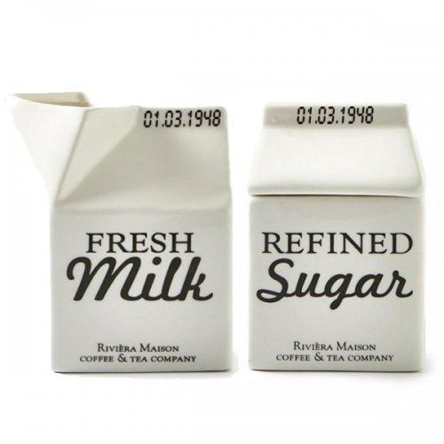 Riviera Maison Carton - Milchgießer, Milchkännchen, Sahnegießer, Zuckerdose - Porzellan - 2er Set