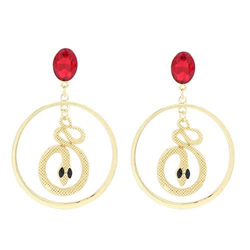 Demarkt Pendientes con Remaches Círculos de Serpiente Mujer Pendientes para Fiesta Tamaño 9 * 6 cm (Oro)