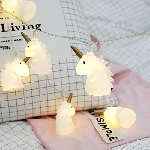 Cadena de Luces Unicornio luz cuerda hada luces LED guirnalda lámparas de Navidad Niños Lámpara noche unicornio Luminario Hogar Led decoración