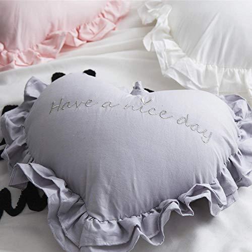 IUwnHceE Almohadas Almohadas Corporales Y para Embarazadas Amor Bordado Hoja De Loto Encaje Dulzura-Gris_40 * 45