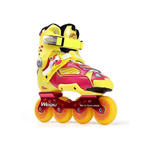 Taoke Inline-Skates, Schlittschuhe, Erwachsene Jungen und Mädchen, Roller Skates, Profi-Mehrzweck Skates (Farbe: Gelb, Größe: EU 43 / US 10 / UK 9 / JP 26.5cm) dongdong