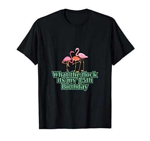 Es mi 15º cumpleaños Flamingos 15 años Fête Luau en Camiseta