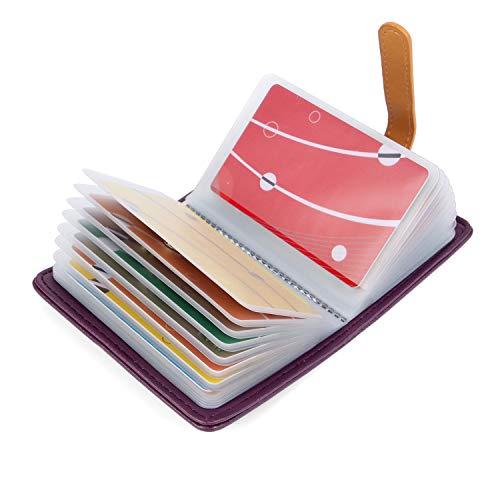 10 Colores Tarjetero para Tarjeta de Credito Cuero para Mujer Hombre - 26 Tarjetas (Morado)