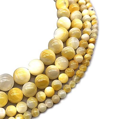 Cuentas redondas sueltas de 6/8/10/12 mm de textura de oro natural para hacer joyas de oro 8 mm aprox. 46 cuentas