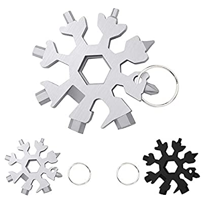 2 Pack Snowflake Multi-Tool, 18-in-1,Stainless Steel,Snowflake Screwdriver,Wrench,Keychain,Bottle Opener, powerful Multi-Tool,Chrismas and New Year's Gift,2 Pack (Black & Silver)