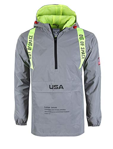 SCREENSHOTBRAND-S51952 Reflective Hooded Waterproof Windbreaker - Outdoor Sportswear Fluorescent Jacket-Neon/Yellow-Large