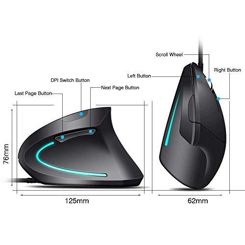 Weskimed Mouse Verticale AU Mouse Verticale Ottico|Mouse Verticale Design Ergonomico 3200-2000-1200-800 DPI con Cavo Previene Il Disturbo del Tunnel Carpale (Sindrome RSI) 5 Pulsanti per Mano Destra