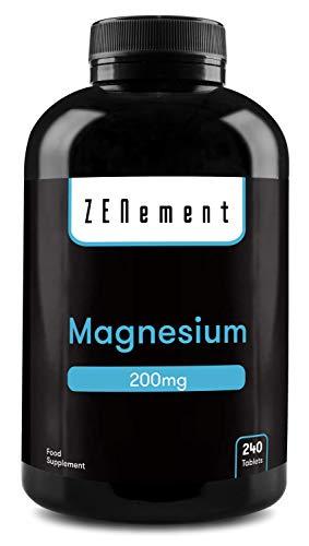 Magnesium 200 mg, 240 Tablets | Ondersteunt gezonde botten, spierfunctie en het zenuwstelsel | Veganstisch | van Zenement