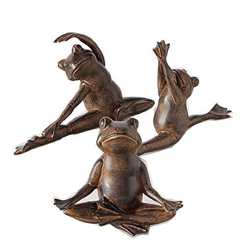 CasaJame Hogar Jardin Decoraciones Objetos Accesorios Adornos Arte Esculturas Juego de 3 Estatuas en Forma de Rana Bailarina Yoga Resina Sintética Marrón 31x11x16cm