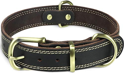 Taglory Collar de Piel de para Perro, Collar de Piel Auténtica para Perros Medianos, Ajustable, Marron Oscuro