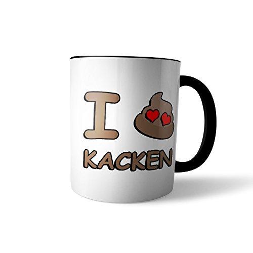 Kaffee-Becher - Tasse 'I Love Kacken' / Kackhaufen | Smiley Emoticon Geschenk, Design 1, Farbe:Schwarz
