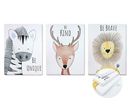 Pack 3 Tríptico cuadros con marco decorativos de lienzo impreso infantiles para decoración pared habitación dormitorio niños con bastidor de madera - 3 cuadros tamaño 30x40cm (Be kind)