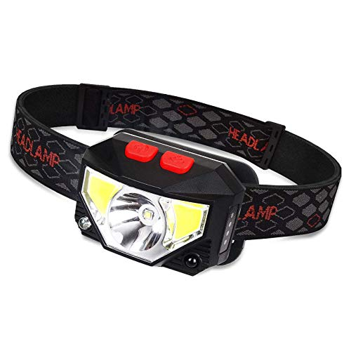 Tinzzi Headlamp Rechargeable, Ultra Bright Motion Sensor Led Head Lamp Waterproof Headlight, 6 Lighting Modes Lightweight for Running Camping Hiking Night Fishing