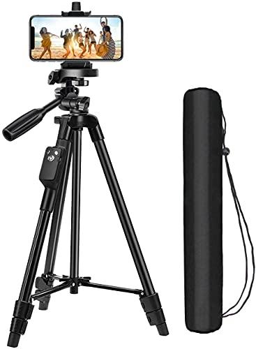 三脚 スマホ三脚 Bluetoothリモコン付き ビデオカメラ 一眼レフカメラ ミニ三脚 さんきゃく 3WAY雲台 4段階伸縮 360回転 全高125cm 収納袋付き iPhone Android スマホ等対応