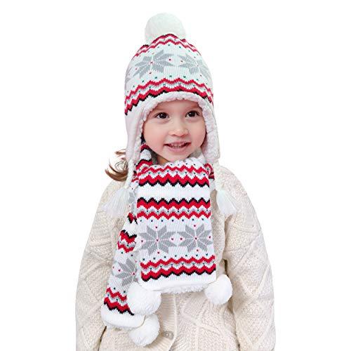 Animque - Juego de gorro de punto para niña, bufanda, guantes, forro polar, para invierno, para bebé, de 2 meses a 8 años, color rosa Juego de 2 copos de nieve térmicos, color blanco Large(2-3 años)